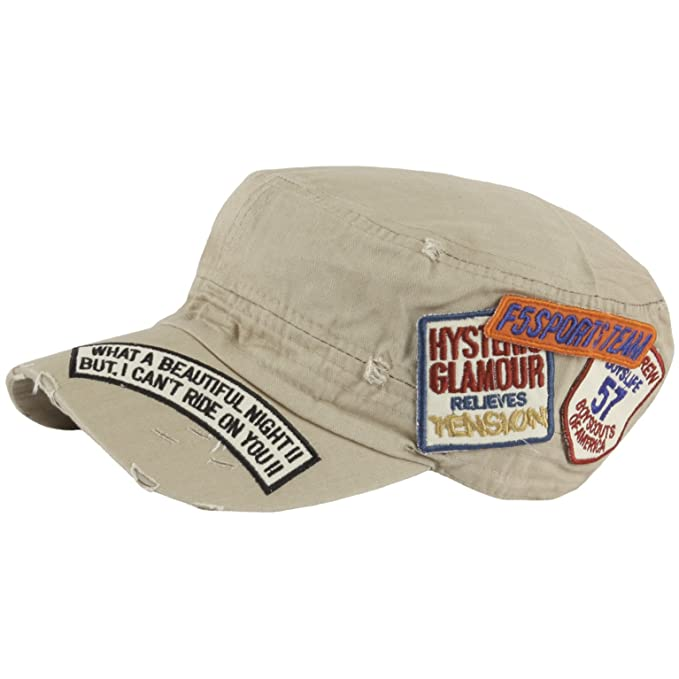 ac8db5daf6e RaOn A176 New Distressed Vintage Ripped Patch Design Club Army Cap Cadet  Military Hat (Beige