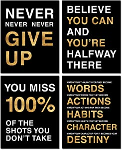 Ihopes Motivational Quote Workout Gym Posters - Classroom Office Wall Art Decals - Inspirational Teen Work Decor - 8x10 inch - Adhesive Black Finish - Set of 4