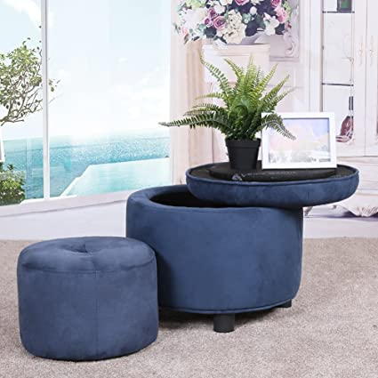 Louis Donné Velvet Tufted Round Storage Ottoman Childrenu0027s Foot Stool,  Large + Small, Family