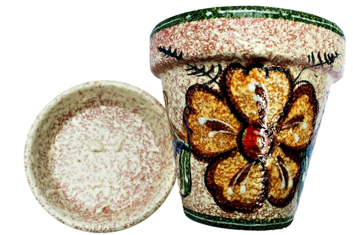 Cactus Canyon Ceramics Spanish Hand-Painted Flower Pot and Saucer, Spanish Gold Design