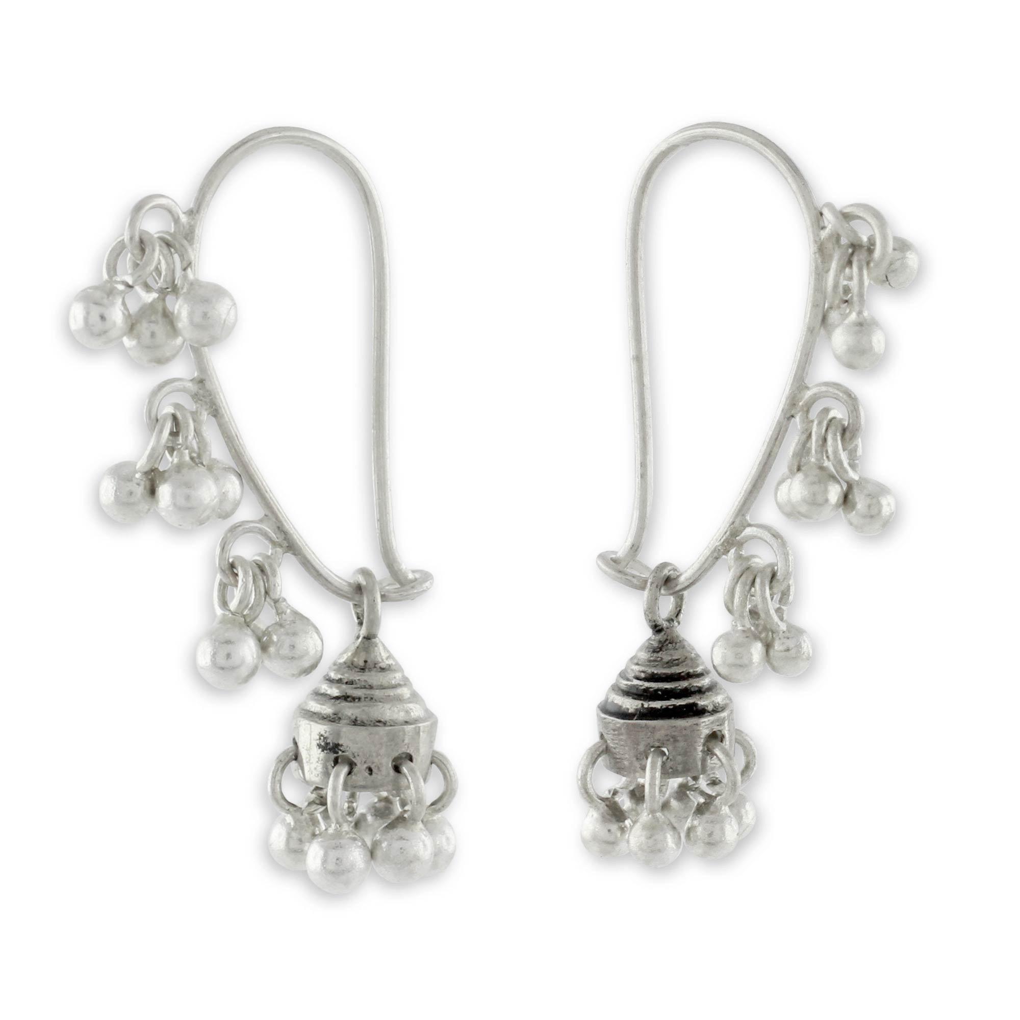 NOVICA .925 Sterling Silver Jhumki Style Jingle Bell Dangle Earrings, Music'