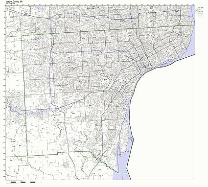 Amazon.com: Wayne County, Michigan MI ZIP Code Map Not ...