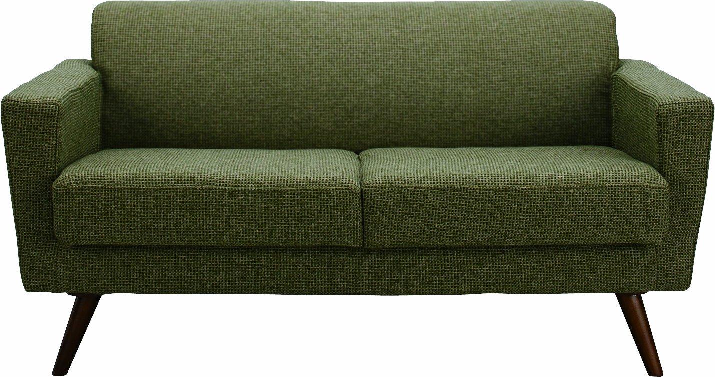 AZUMAYA 2人掛けソファ バーナル (幅140cm 布タイプ) グリーン色 GS-549GR B002M24O5Q グリーン