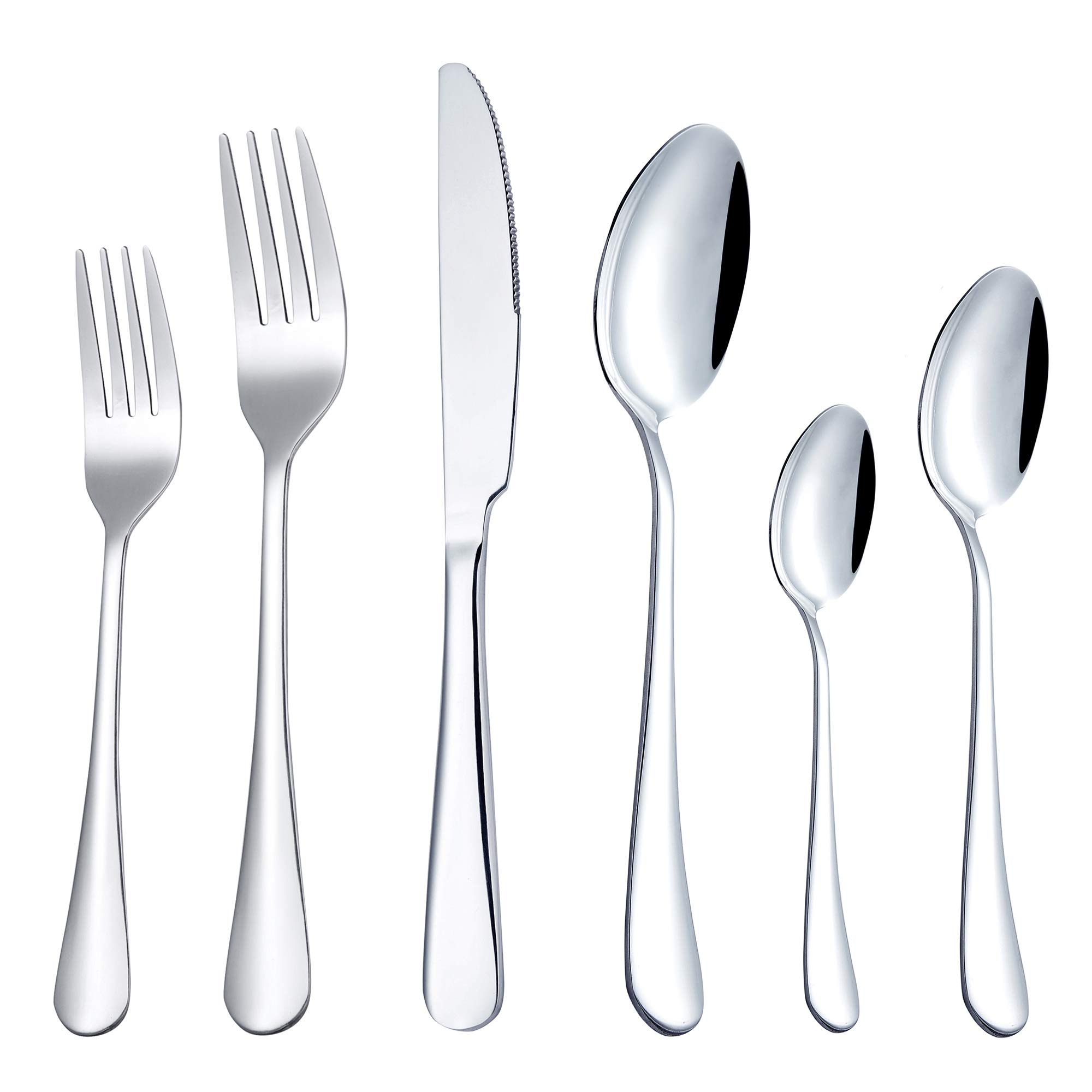 Flatware Silverware Set for 4, 24-Piece Cutlery Tableware Set, SHUNBIN Stainless Steel Utensils Service,with Knife Fork and Spoon,for Kitchen Hotel Party,Dishwasher Safe,Mirror Polished
