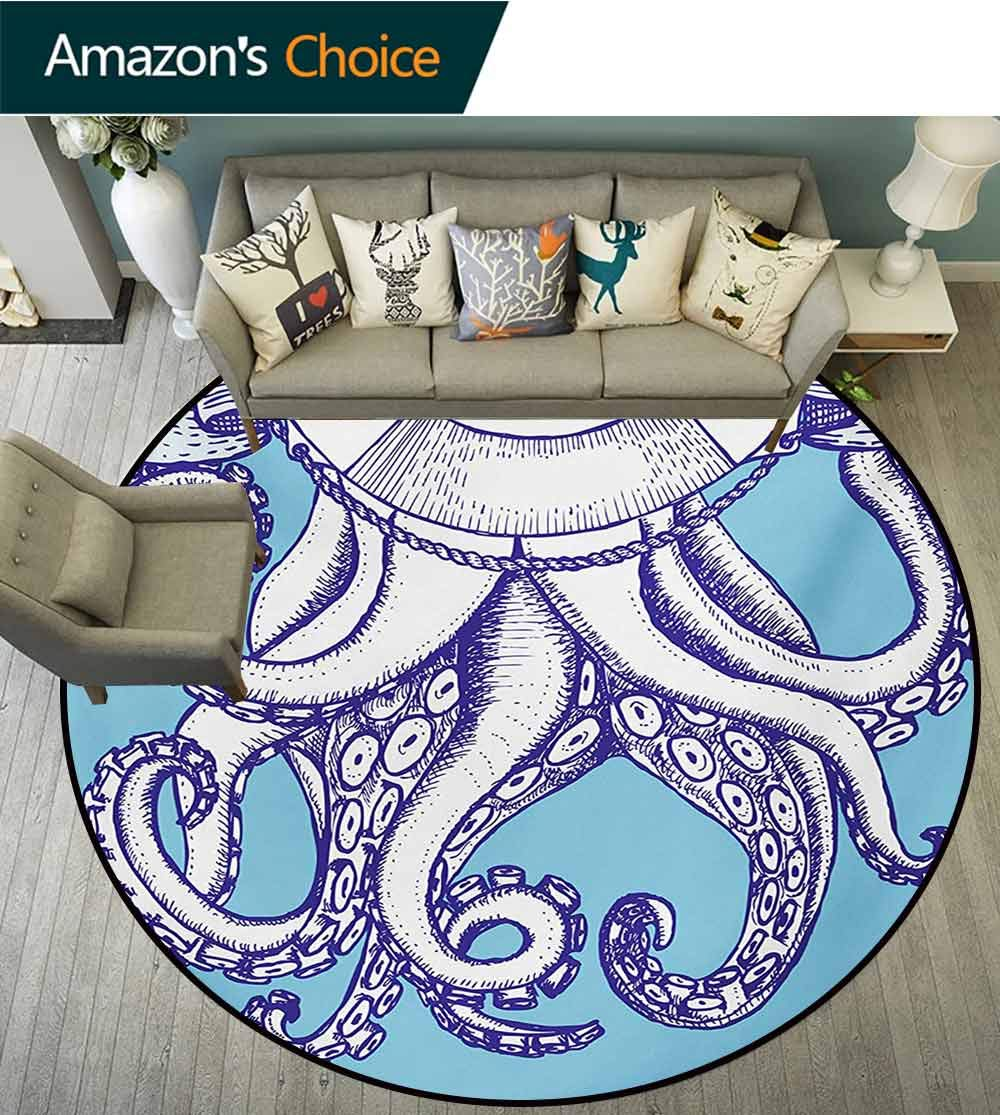 RUGSMAT Octopus Modern Machine Washable Round Bath Mat,Octopus and Life Buoy in Vintage Style with Lettering Sea Voyage Illustration Non-Slip Soft Floor Mat Home Decor,Round-47 Inch