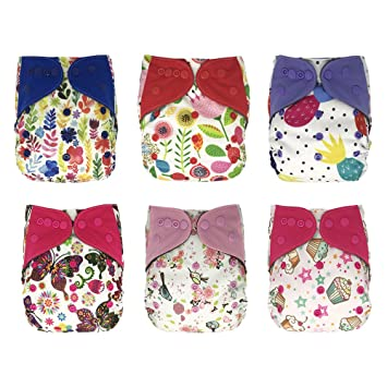 5 Lot Newborn AIO Cloth Diapers All in one Baby Cloth Nappies with Bamboo Insert