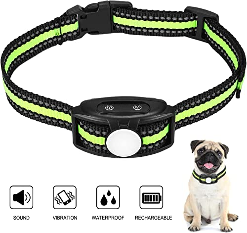 Dog Bark Collar with Adjustable Sensitivity and Intensity Beep Vibration, Rechargeable Waterproof Bark Control Training Collar, Humane Anti-Barking Collar for Small Medium Large Dog