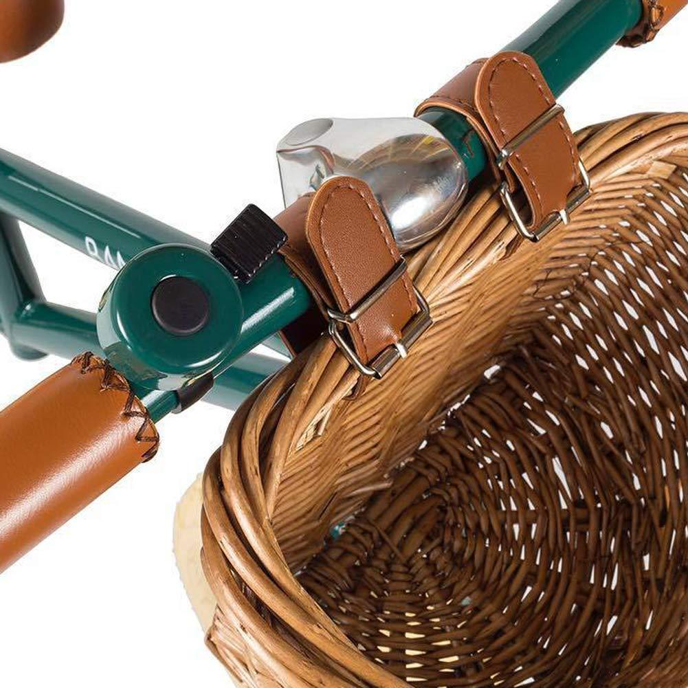 Almacenamiento de la Cesta del Manillar con Correa Fija omufipw Cesto de Bicicleta de Mimbre Impermeable de la Parte Delantera de la Bicicleta