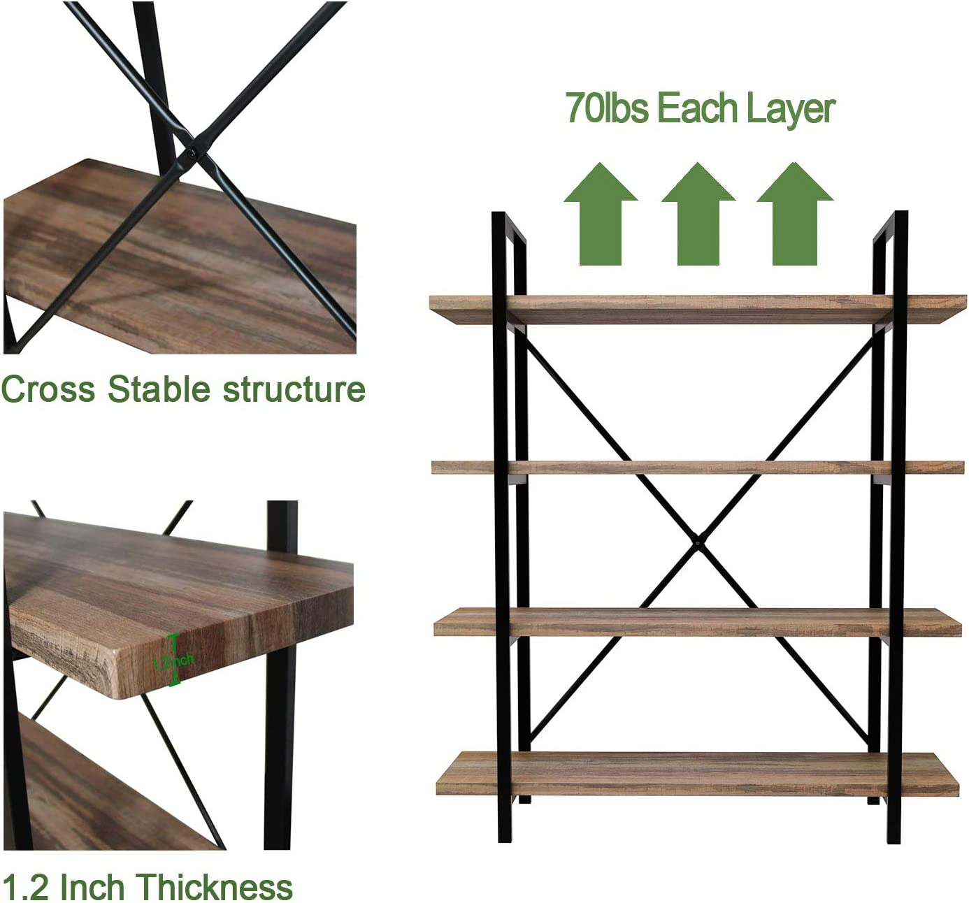 45MinST 4-Tier Vintage Industrial Style Bookcase/Metal and Wood Bookshelf Furniture for Collection,Vintage Brown, 3/4/5 Tier (4-Tier): Furniture & Decor