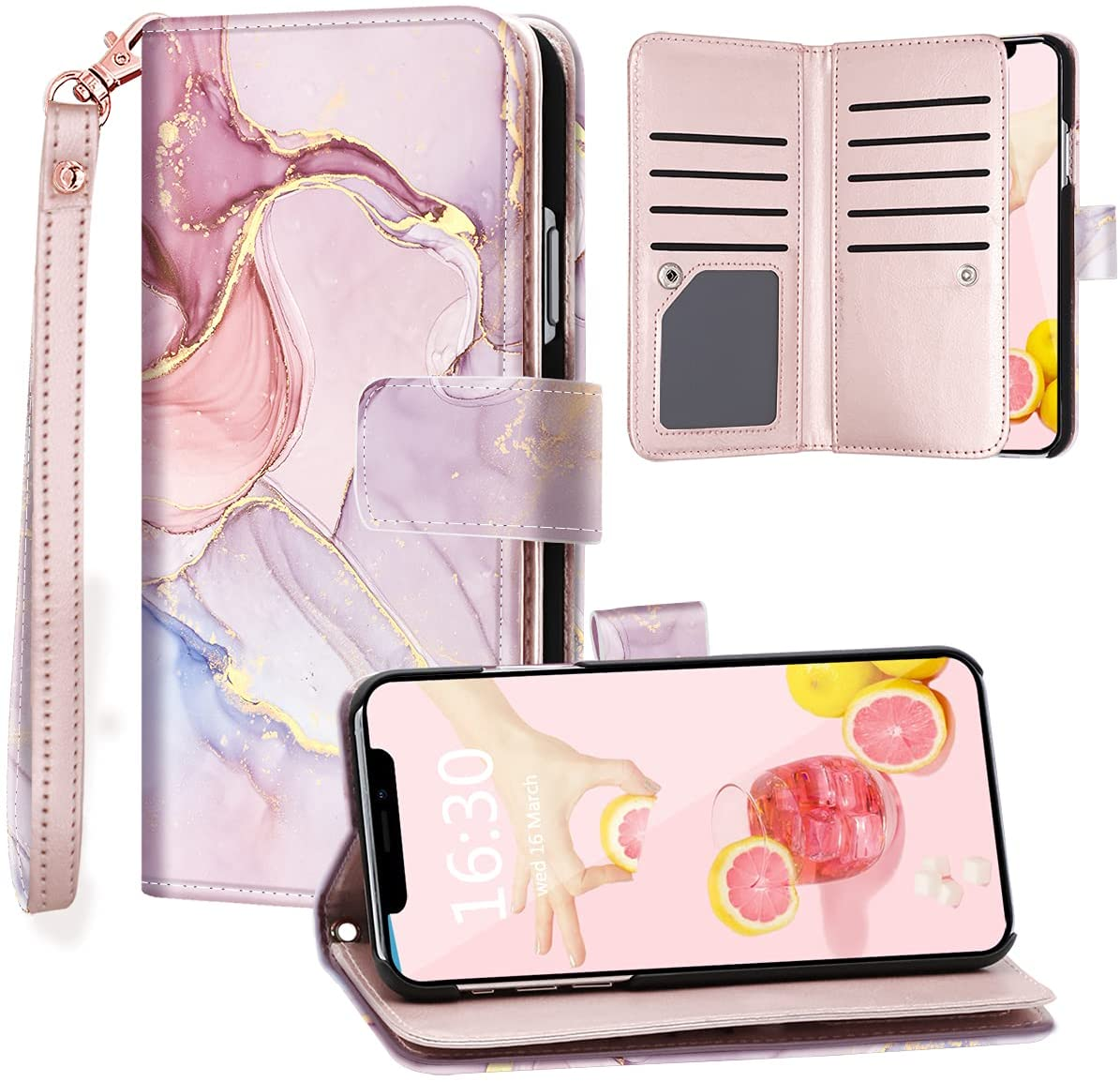 Fingic iPhone 11 Case, iPhone 11 Case Wallet, Rose Gold Marble 9 Card Holder PU Leather Detachable Wrist Strap Wallet Case for Women Cover for Apple iPhone 11 2019 (6.1 inch), Rose Gold