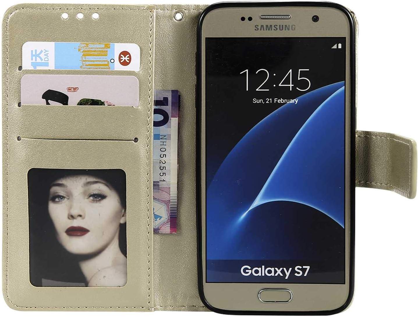 GORASS Antichoc /étui en Cuir de premi/ère qualit/é avec Fentes et Stand Fonction pour Samsung Galaxy S7 Rose Housse avec Gaufrage de Fleurs de Mandala Motif Coque Galaxy S7