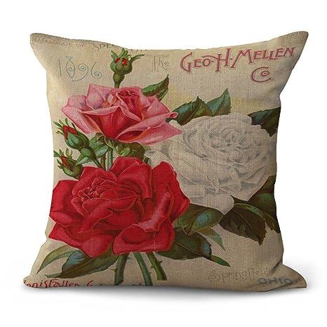 JINGXINSTORE Vintage flor pintada Algodón impreso funda de ...