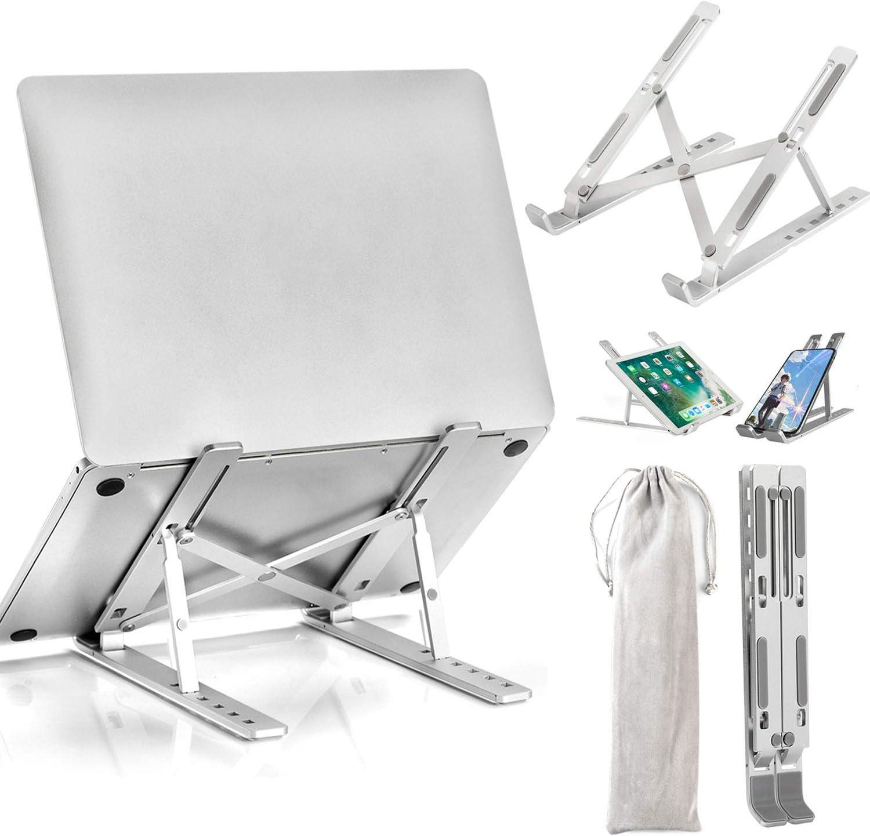 "Laptop Stand, DHGMV Laptop Tablet Stand, Adjustable Aluminum Foldable Portable Computer Stand Holder Riser Desktop Mount Compatible with MacBook Air Pro, Dell XPS, Lenovo More 10-15.6"" Laptops"