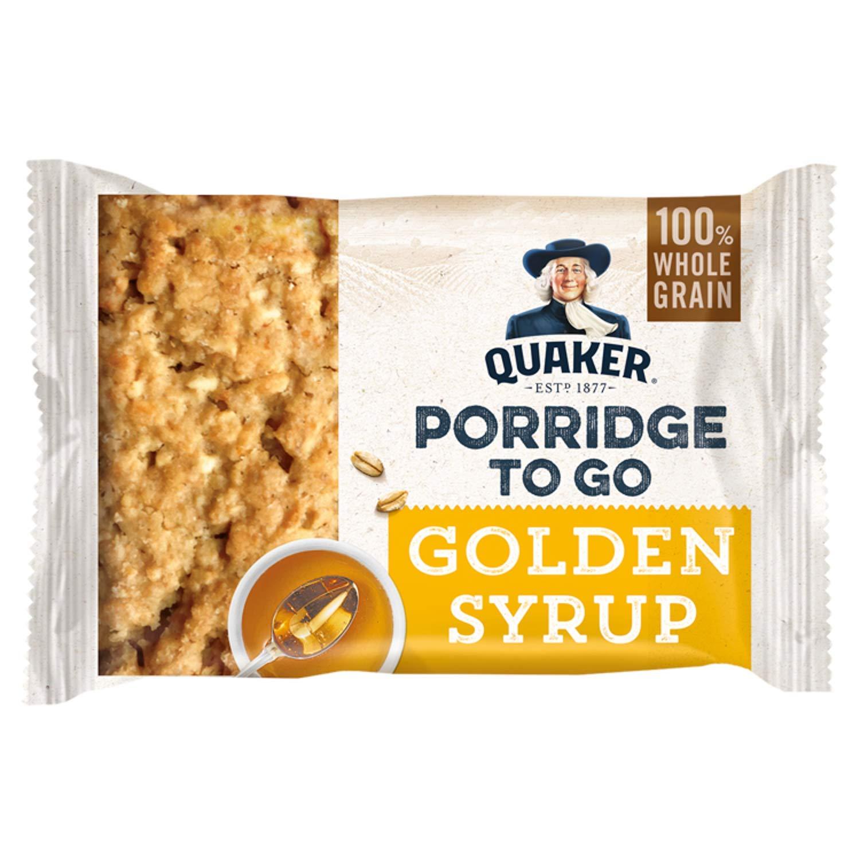 Quaker Porridge to Go Golden Syrup Breakfast Bar 55g (Pack of 24) by Quaker