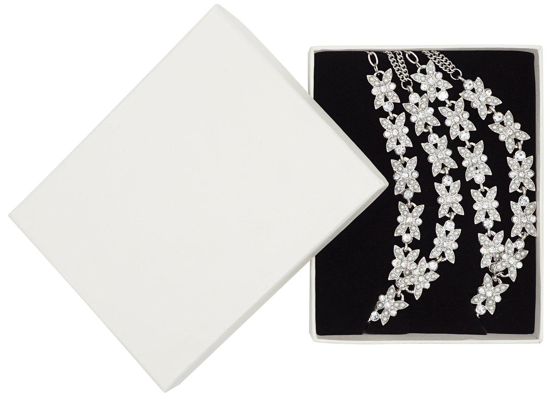 Bienvenu White Faux Pearl Rhinestone Foot Jewelry Beach Anklet Bridal Wedding Bangles Pool Party Accessories Set, Silver Style 3 by Bienvenu (Image #7)