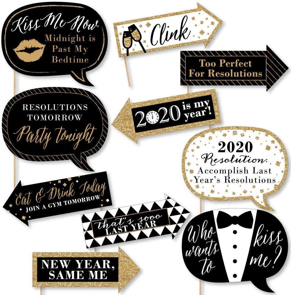 Big Dot of Happiness Funny New Year's Eve - Gold - 2020 New Years Eve Party Decorations - Photo Booth Props Kit - 10 Piece