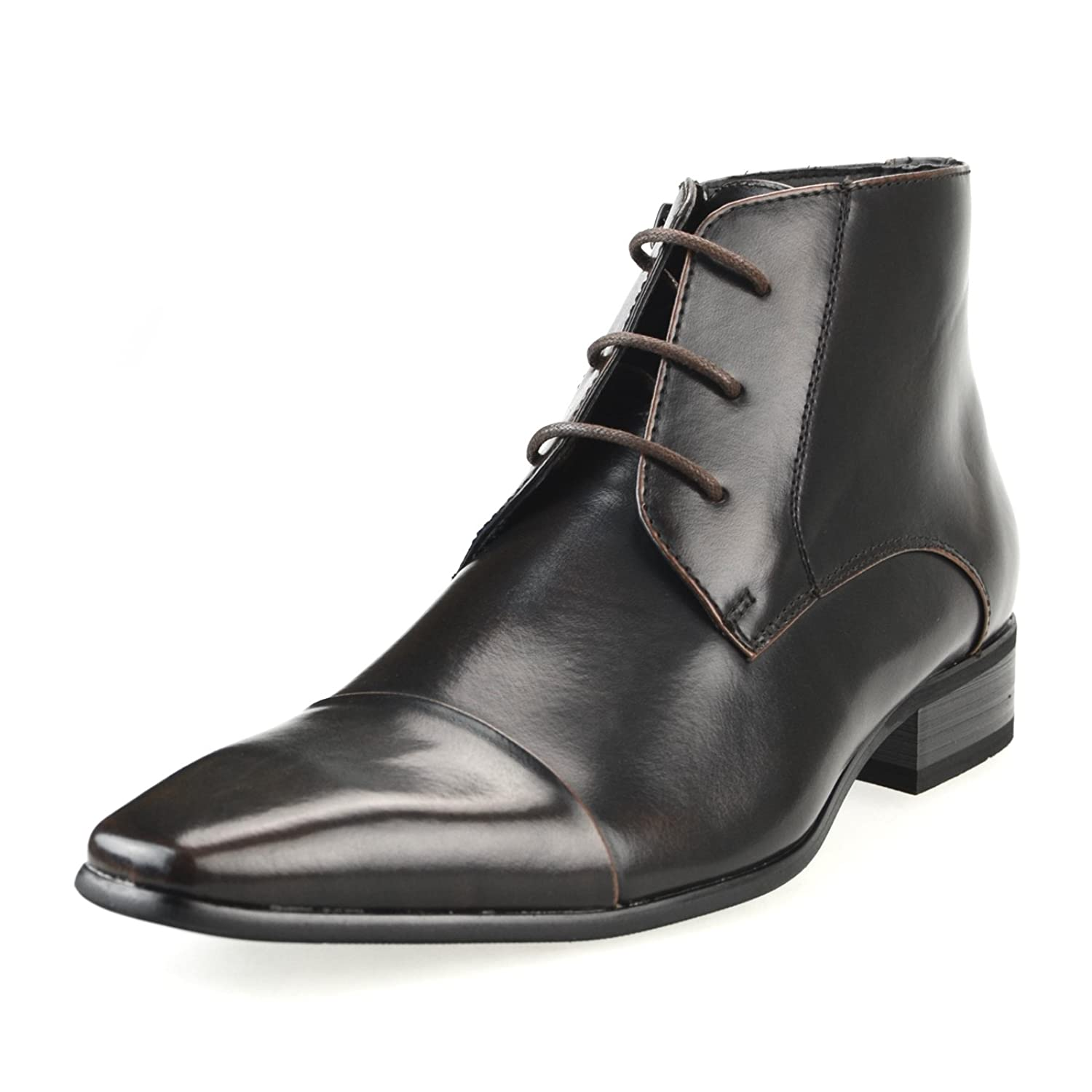 MM/ONE Oxford Shoes Chukka Boots Short Boots Embossing Plain Pointed Cap toe Round Black Dark Brown