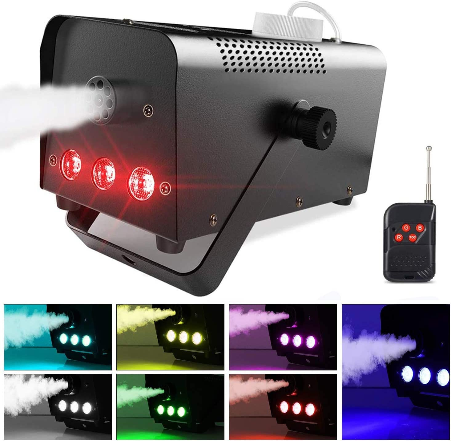 Máquina de Humo con 7 Colores LED Luces Theefun Máquina de CO2 Portátil Máquina de Niebla con Control Remoto para Fiesta Matrimonio Cumpleaños Fiesta Partido Teatro Discoteca DJ Escenario