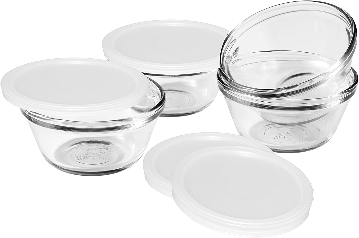 Anchor Hocking 6-Ounce Custard Cups with Lids, Set of 4