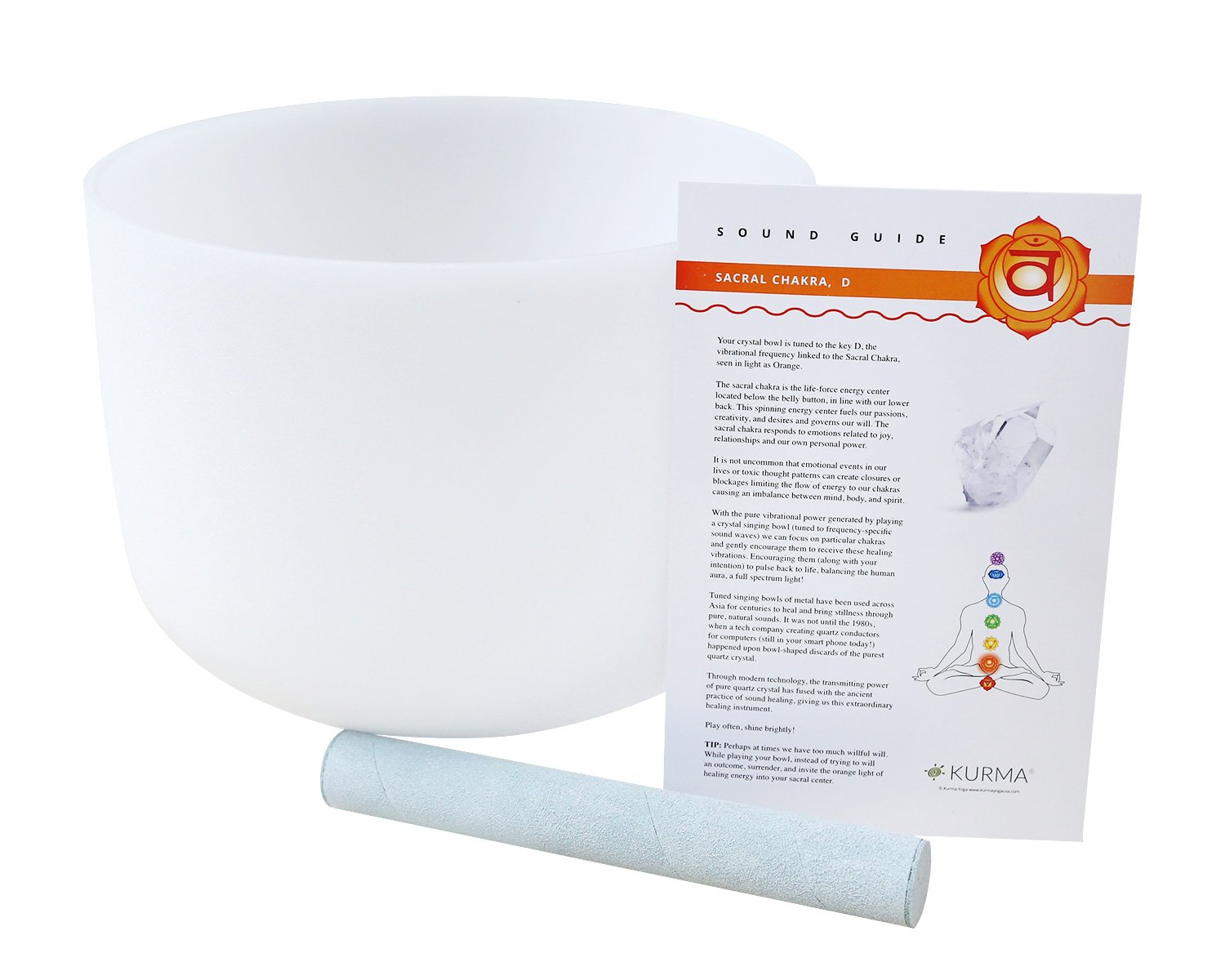 432 hz Crystal Singing Bowl D Note Sacral Chakra 10 Inch, Suede Mallet Included, Highest Quality Sound and Crystal