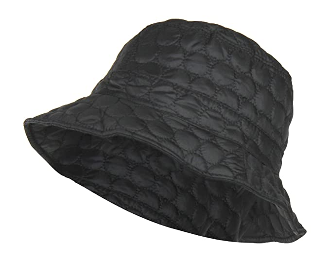 Black Packable Water Repellent Quilted Bucket Rain Hat w  Adjustable  Drawstring 499caf16d6c1
