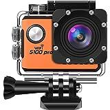 SOOCOO アクションカメラ 4K 超高画質 2000万画素 手振れ補正 wifi搭載 リモコン付き 170度広角 30m防水 2インチ液晶画面 1050mAHバッテリ2個 HDMI出力可能 25個付属品付き ウェアラブルカメラ ブラック (S100PRO)