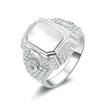 Beydodo Herren Ring Silber 925 Siegelring Rund Brillant Weiss