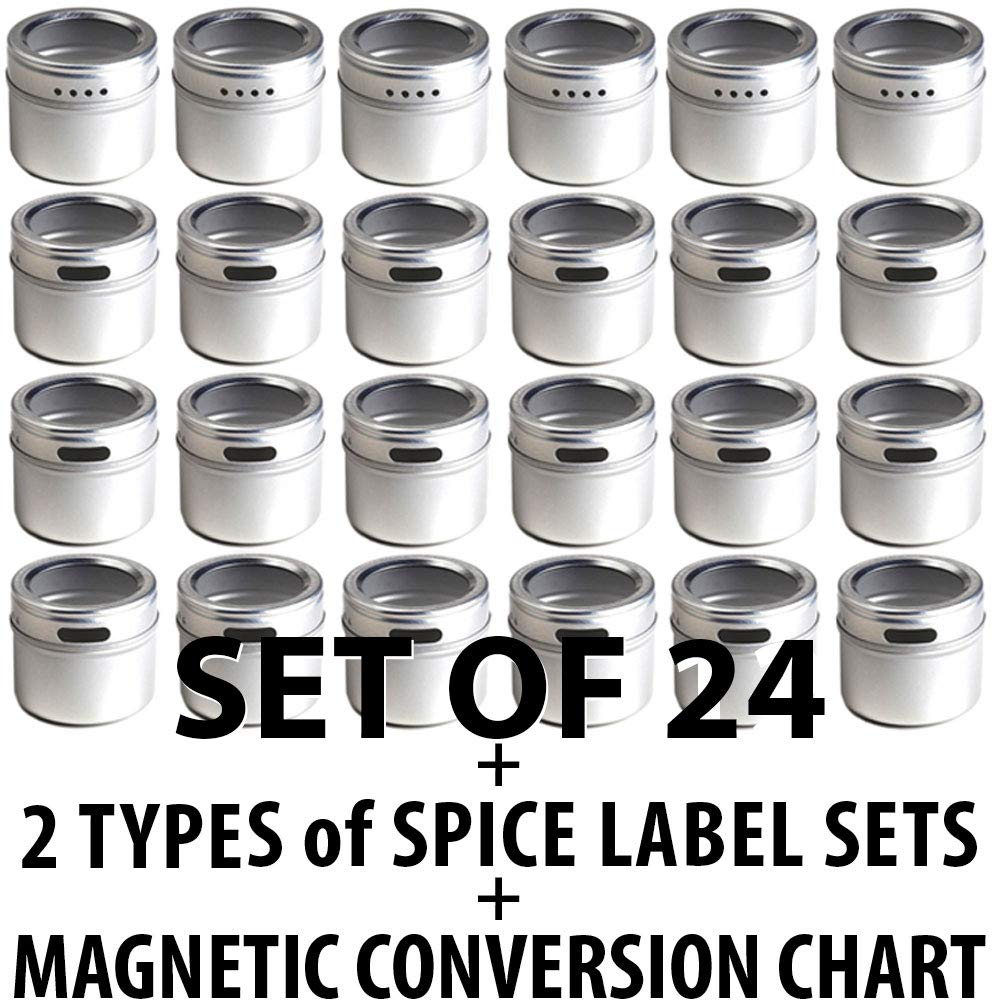 24 Magnetic Spice Tins & 2 Types of Spice Labels, Authentic by Talented Kitchen. 24 Storage Spice Containers, Window Top w/Sift-Pour. 113 Clear & 126 Chalkboard Stickers. Rack Magnetic On Refrigerator by Talented Kitchen (Image #2)