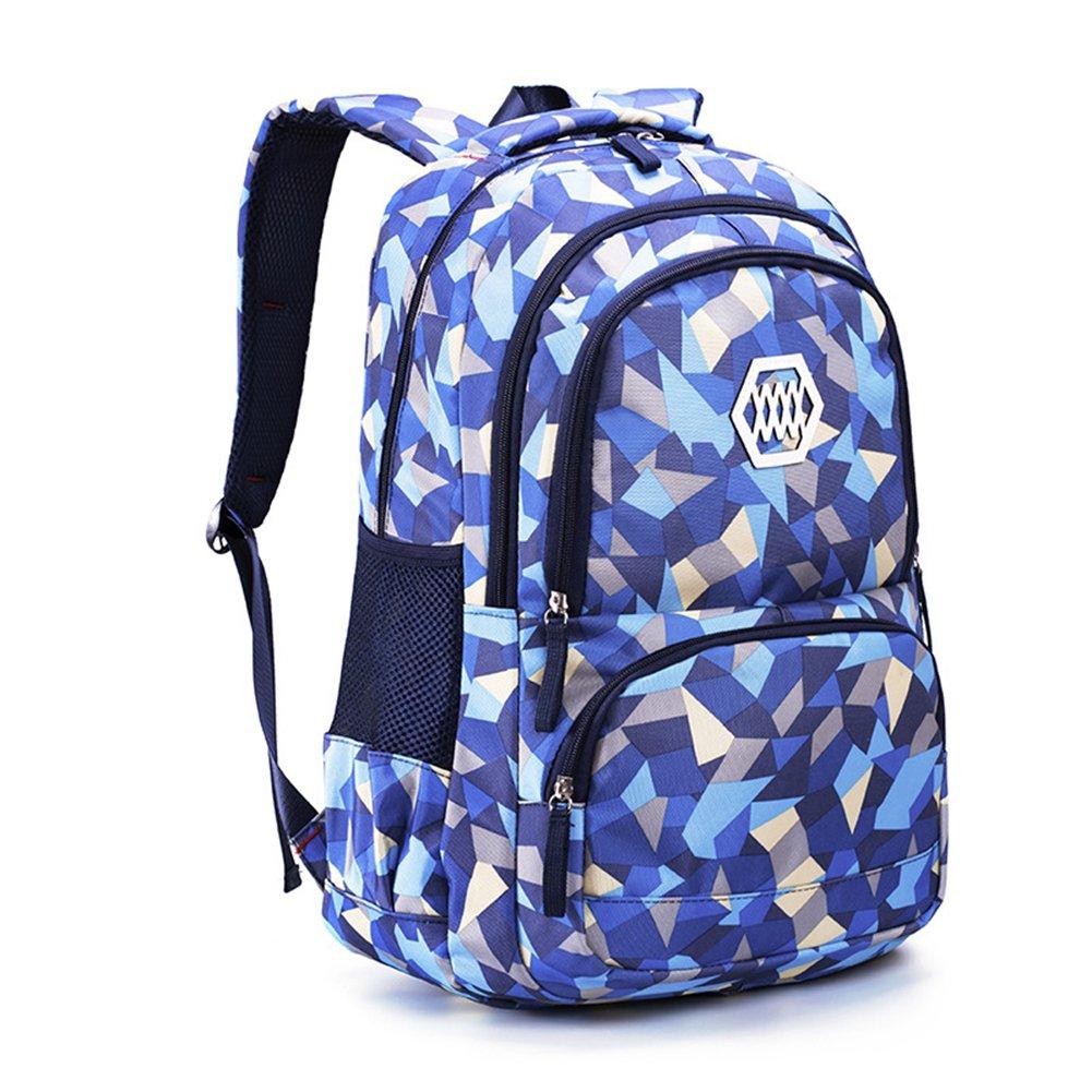 RYC Backpack Sac à Dos Enfant en Nylon Cartable Scolaire Fille Garcon Unisexe Ecole Loisir Voyage Ordinateur Primaire Maternelle 48*33*24cm Bleu