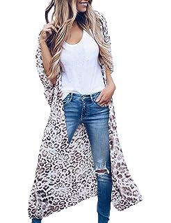 f621d85afa1dc MayBuy Women's Long Kimono Cardigan with Belts Boho Style Chiffon Flowy  Beach Cover Ups S-