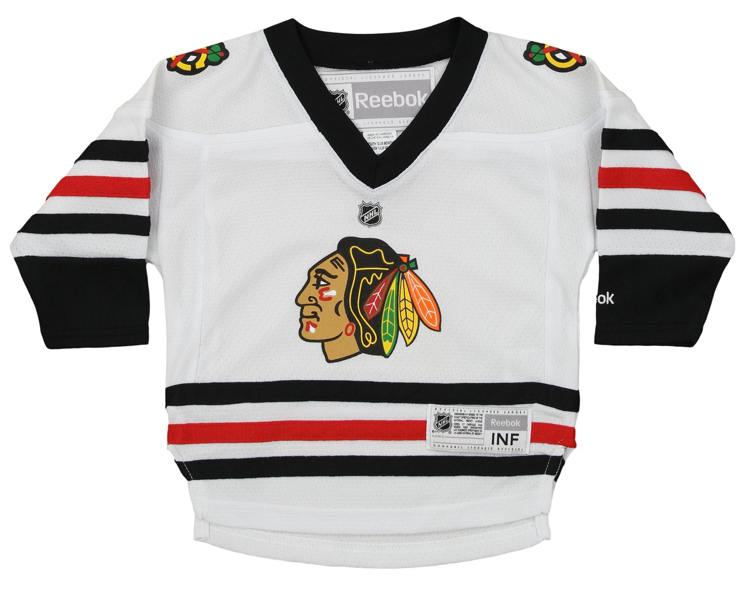 082b8e34ba9 Amazon.com : NHL Infant's Chicago Blackhawks Replica Jersey, White 12-24  Months : Sports & Outdoors