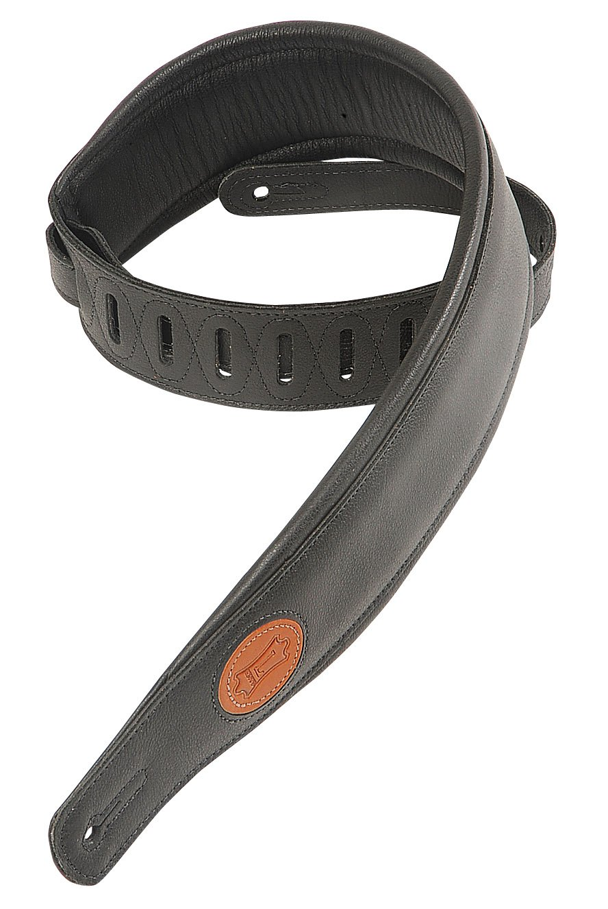 Levy's Leathers MSS2-BLK Garment Leather Guitar Strap, Black