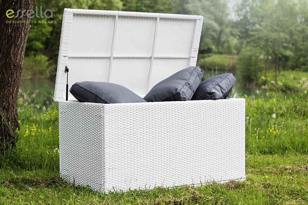 essella Polyrattan Kissenbox L in Weiß