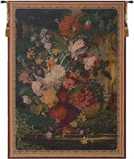 WALL JACQUARD WOVEN TAPESTRY Floral Bouquet with Peonies EUROPEAN PICTURE