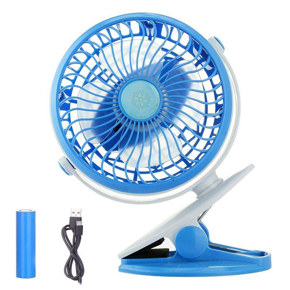 Anpress Clip on Fan, Battery Powered Baby Stroller Fan, USB Electronic Fan Personal Portable Table Fan Desk Fan for Home Office Outdoor Traveling