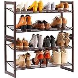LANGRIA Metal Mesh Shoe Rack 4 Tier Tilted Angled Organiser for Entryway Closet Living Room Bedroom, Bronze