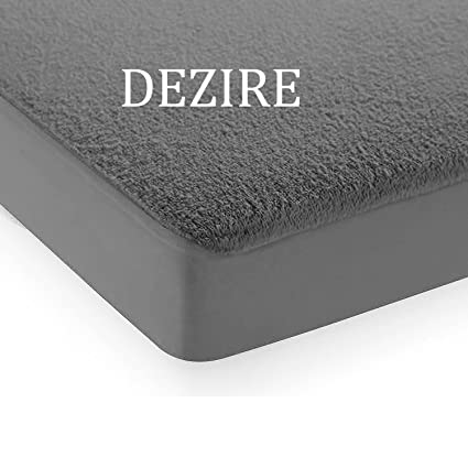 Dezire 6 by 6 King Size Elastic Fitted Waterproof Terrycloth Double Bed Cover Mattress Protector (Grey, 72x72-inches)