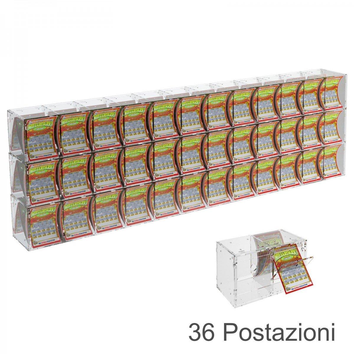 Espositore gratta e vinci da banco o da soffitto in plexiglass trasparente a 36 contenitori munito di sportellino frontale lato rivenditore