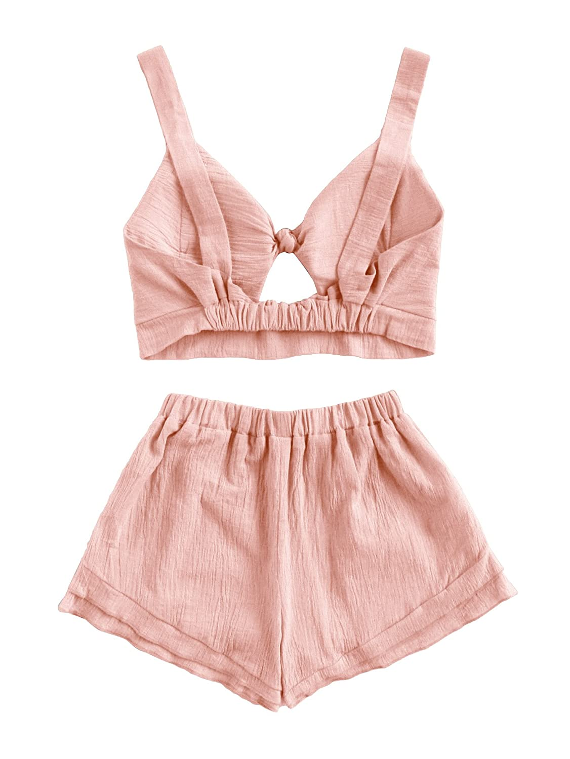 b660f50739 Amazon.com: SheIn Women's V Neck Knot Front Crop Top 2 Pieces Outfits with  Shorts: Clothing