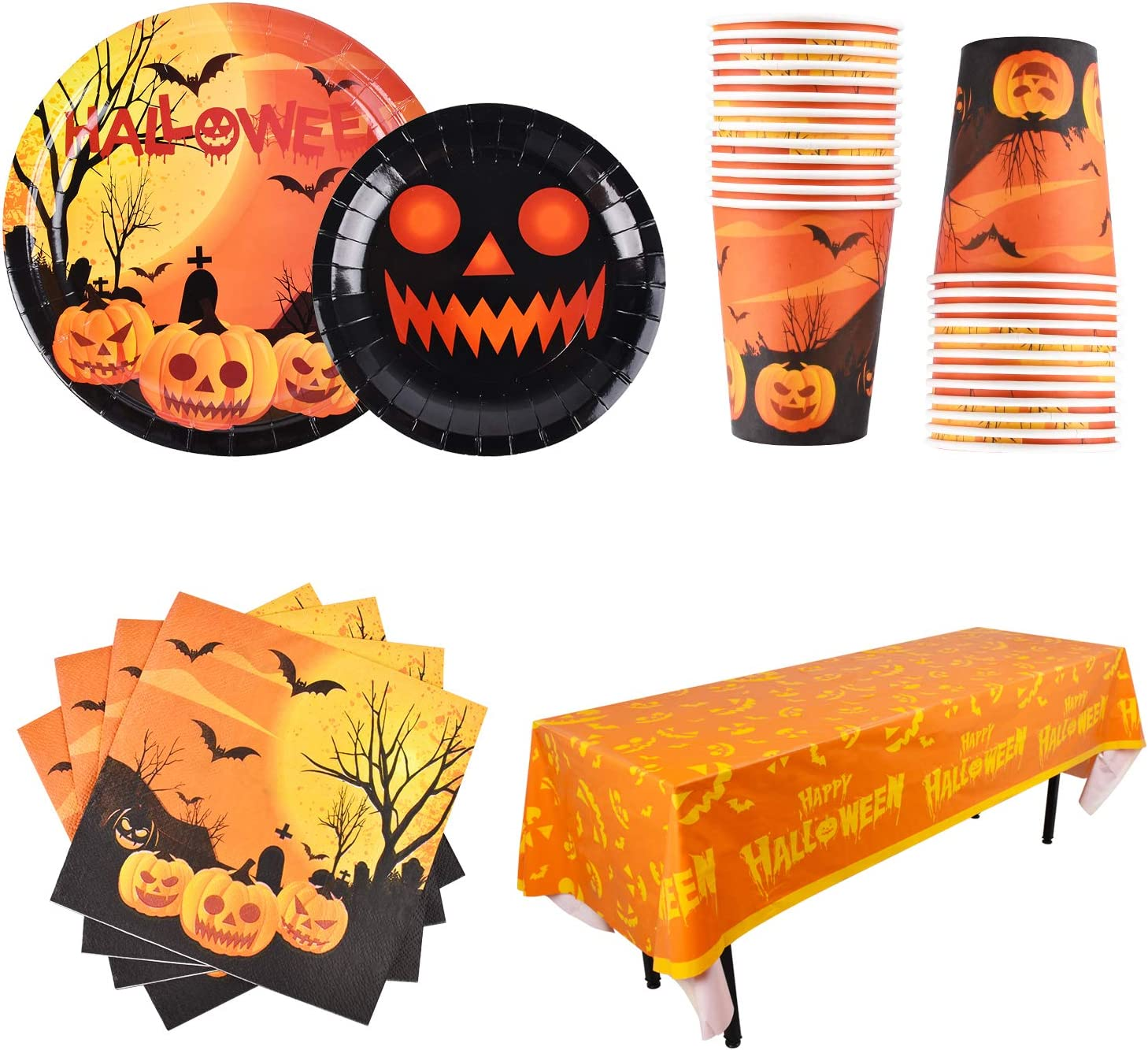 tablecover and banner Dinner and dessert plates Serves 16 napkins Halloween Party plates pack set cups