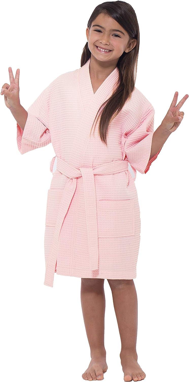 Flower Girl Waffle Kimono Robe Turquaz Linen Kids Spa Party