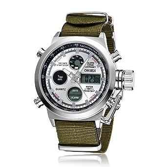 OHSEN Military Army Type White Analog Digital Quartz Nylon Band Wrist Watch