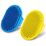ROPO Dog Grooming Brush, Pet Shampoo Bath Brush Soothing Massage Rubber Comb with Adjustable Ring Handle for Long Short…