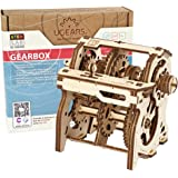 UGEARS STEM Gearbox Model Kit - Creative Wooden Model Kits for Adults, Teens and Children - DIY Mechanical Science Kit for Se