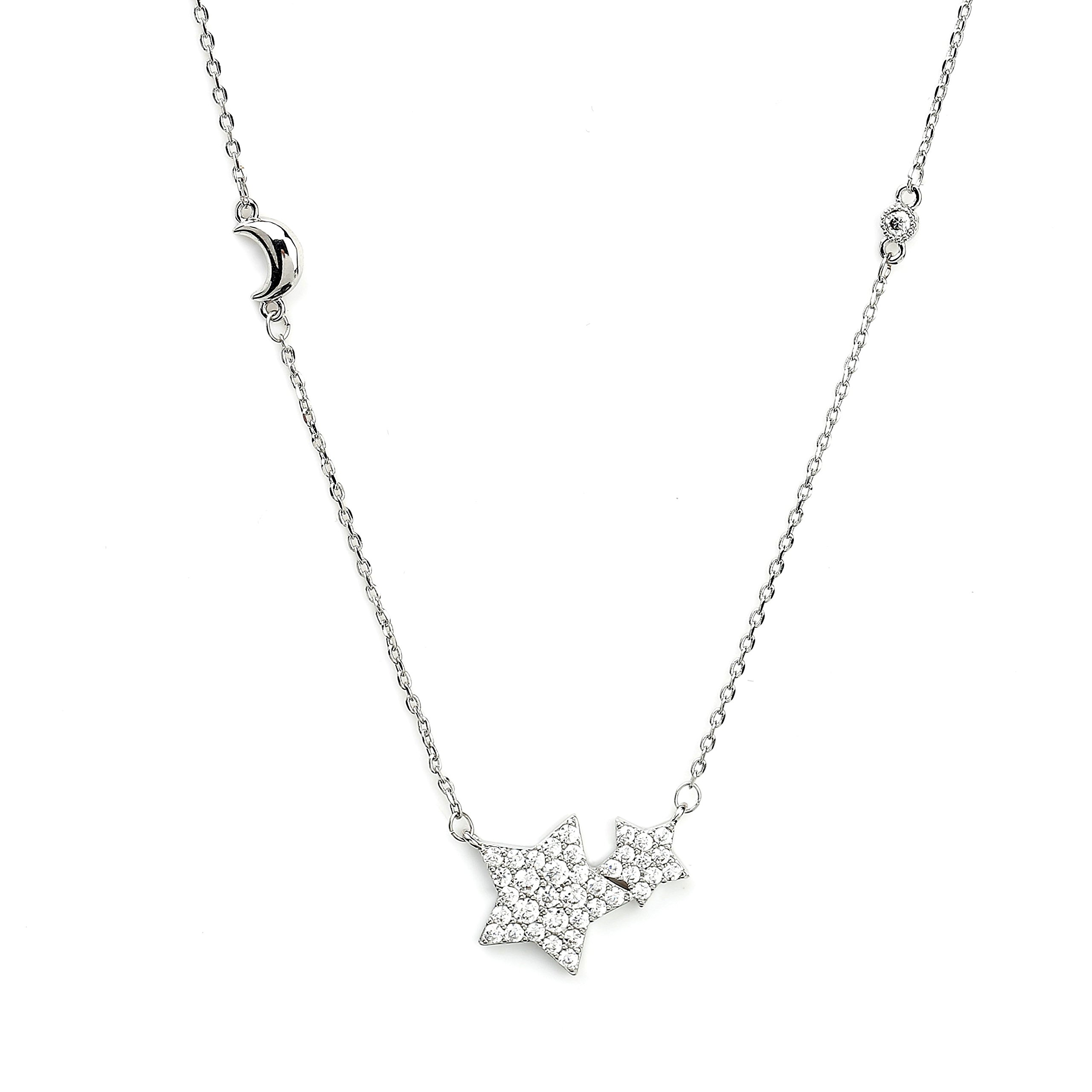 Delicate Silver (White Gold) Tone Star & Moon Necklace with Embedded Swarovski Style Crystals (Silver Stars)