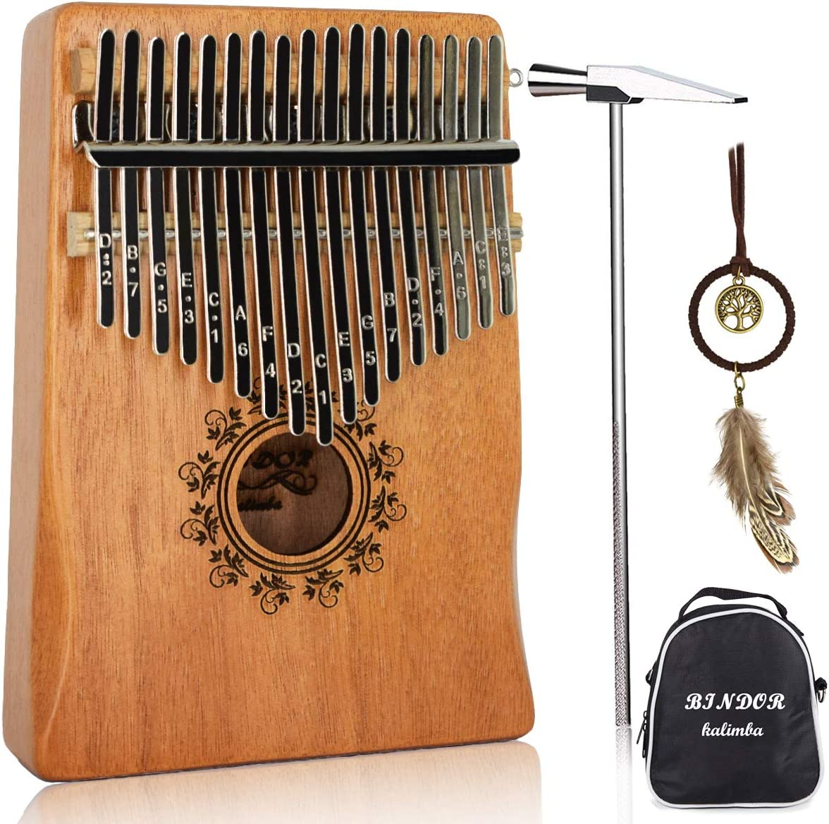 17 Key Kalimba Thumb Piano, Bindor Finger Piano Mbira Kalimba Solid Mahogany Body Portable Easy-to-learn Musical Instrument with Tuning Hammer