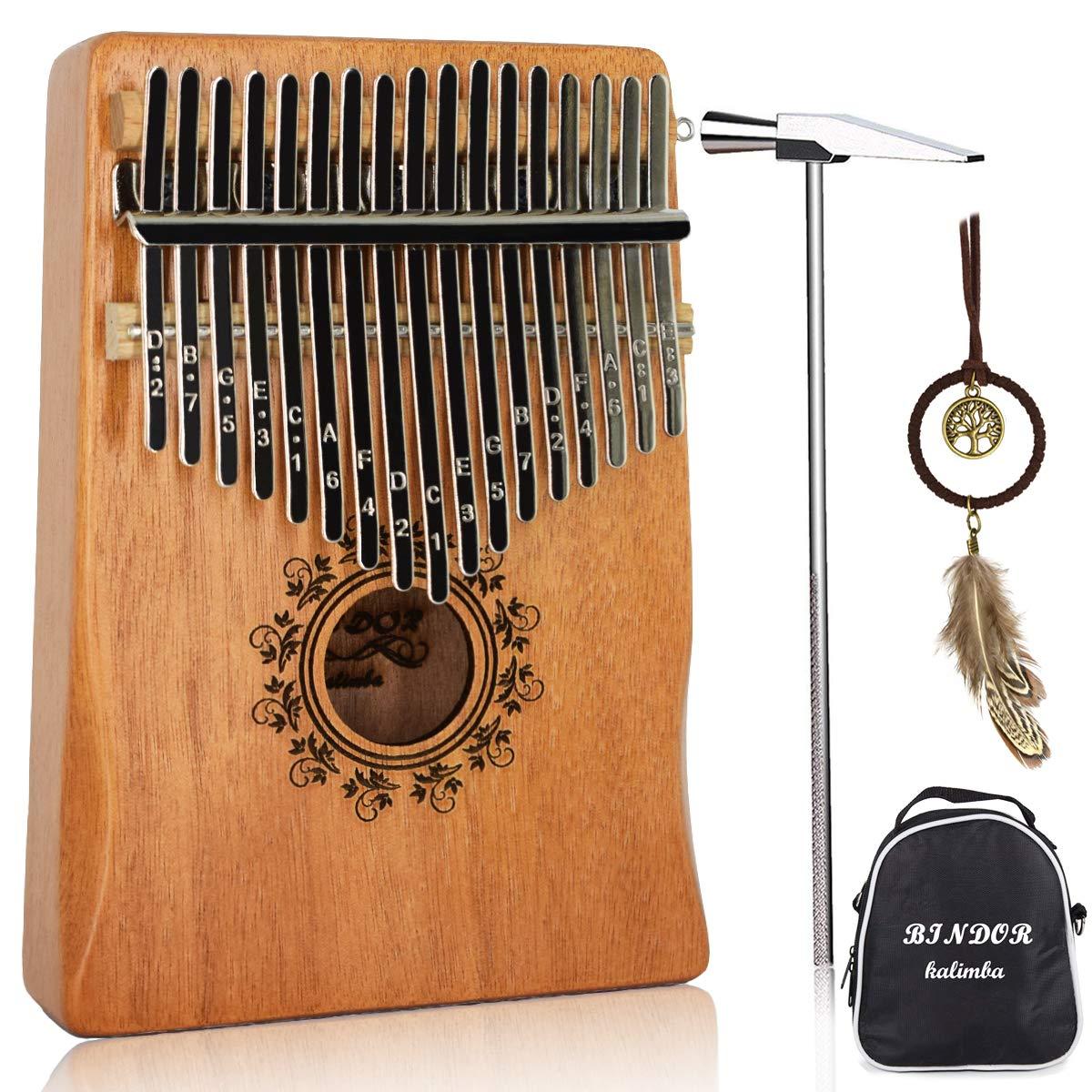 17 Key Kalimba Thumb Piano, Bindor Finger Piano Mbira Kalimba Solid Mahogany Body Portable Easy-to-learn Musical Instrument with Tuning Hammer(Wood Color) by BinDor