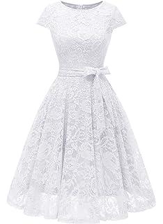 fc962c45f3 MuaDress Vestido Cóctel Corto Encaje Plisado A-Línea con Cinturón Y Manga  Corta Elegante Mujer