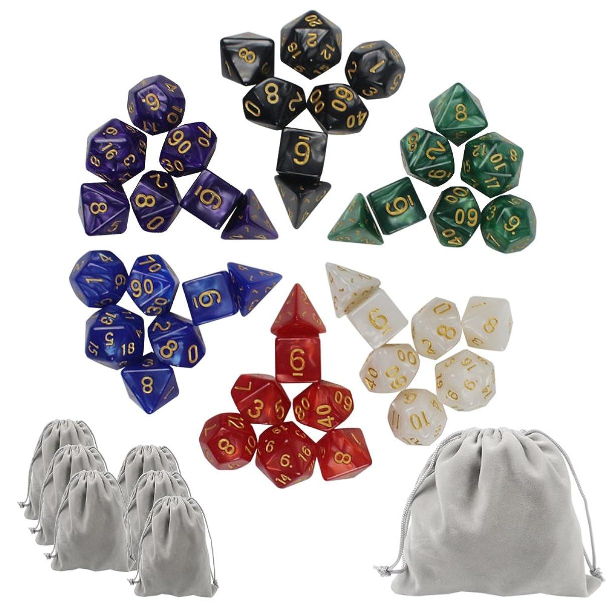 説明的凶暴な散歩に行くKUUQA trpg ダイス 6色×7種 42個 クトゥルフ 神話 ボードゲーム カードゲーム 用 ダイス セット サイコロ