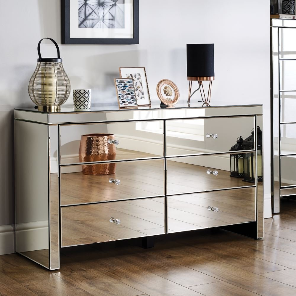 sale retailer 1eaf8 a3584 Mirrored Bedroom Furniture, Happy Beds Seville Silver Wide 6 Drawer Chest -  Height 72.5 cm, Width 125 cm, Depth 40 cm